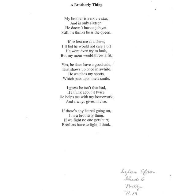 Poema que fue escrito por el hermano pequeño de Zac Efron
