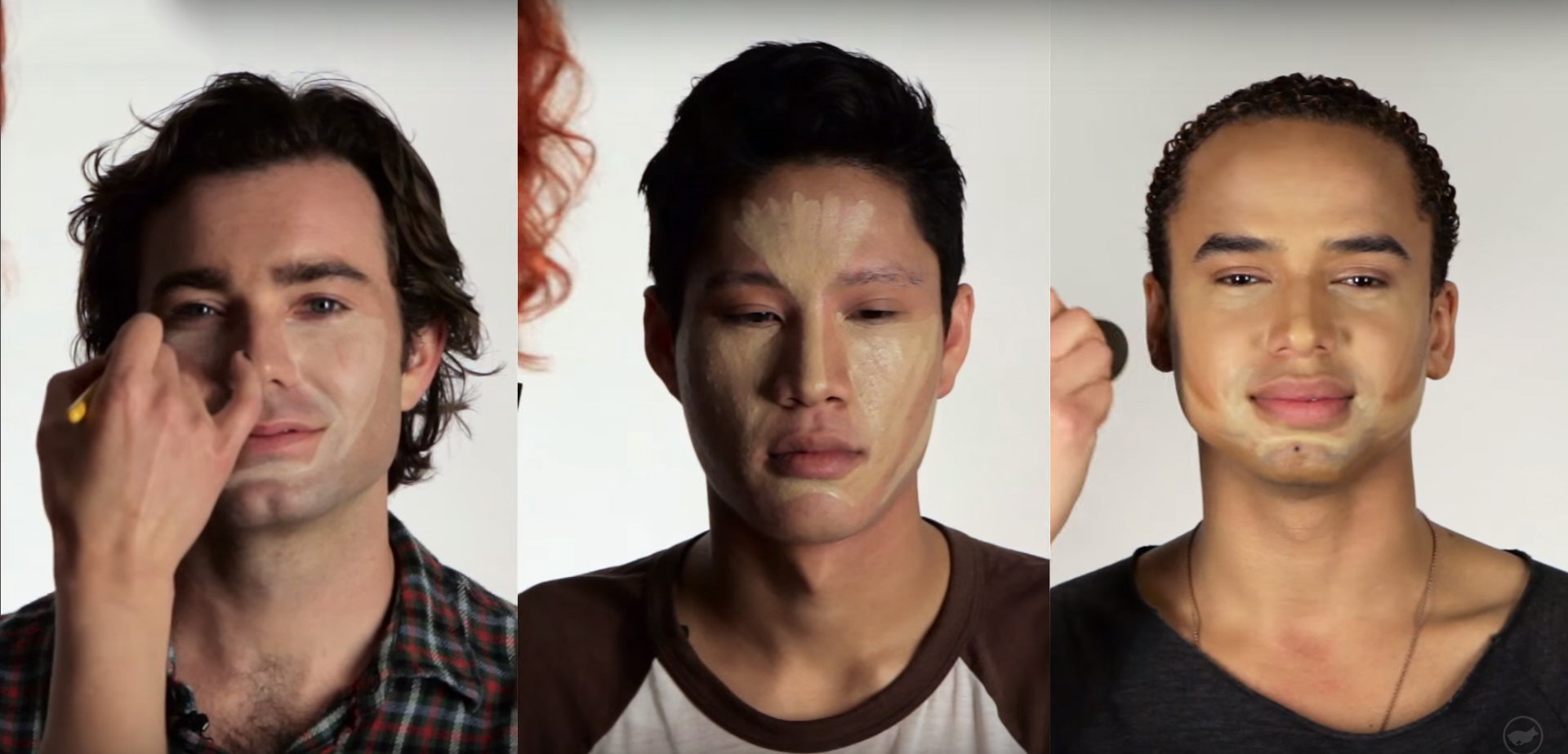 hombres contornean su rostro