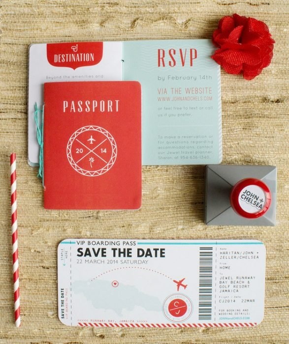 Invitación de boda en forma de pasaporte