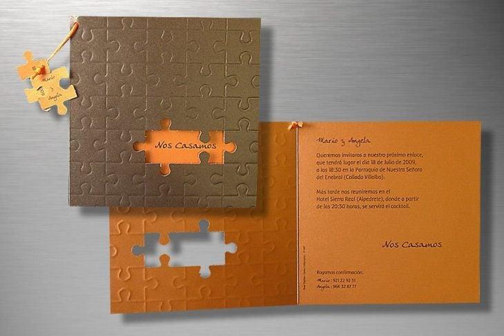 invitaciones de boda en forma de puzzle