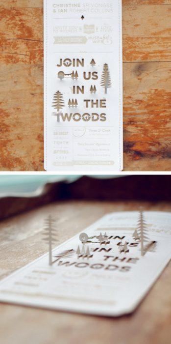 Invitación de boda en forma de bosques