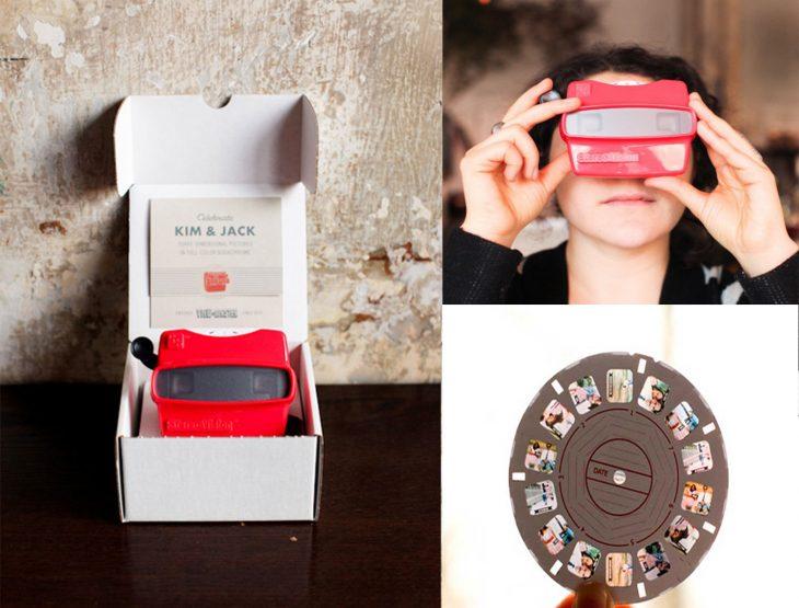Invitación de boda en forma de proyector de fotos