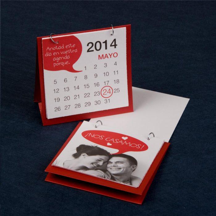 Invitación de boda en forma de calendario