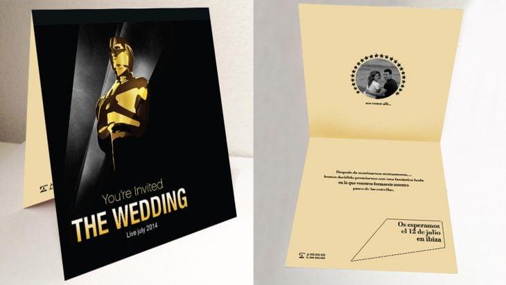 Invitación de boda como una entrega de premios oscar