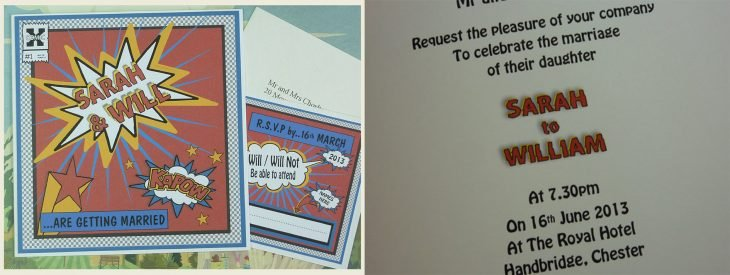 Invitación de boda en forma de historieta