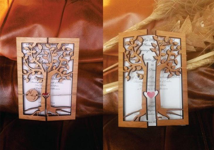 Invitación de boda en forma de árbol