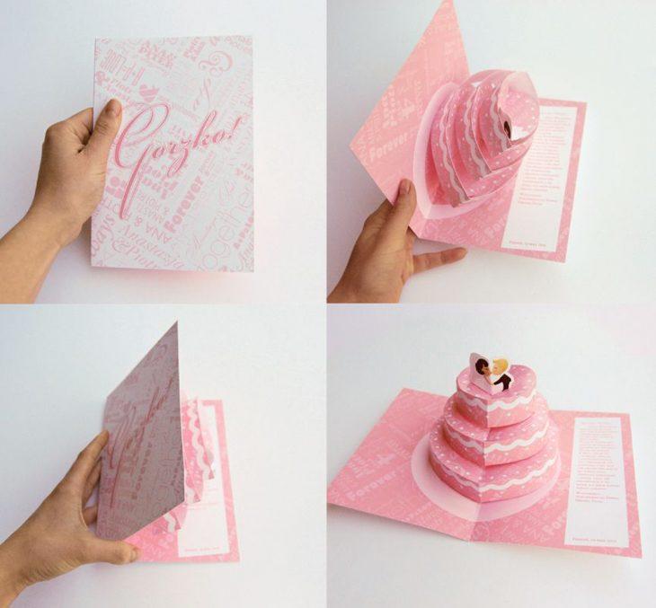 Invitación de boda en forma de pastel