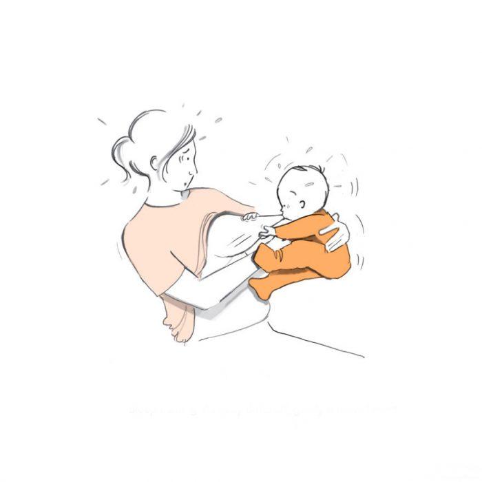 Ilustración cuando el bebé se queda dormido comiendo