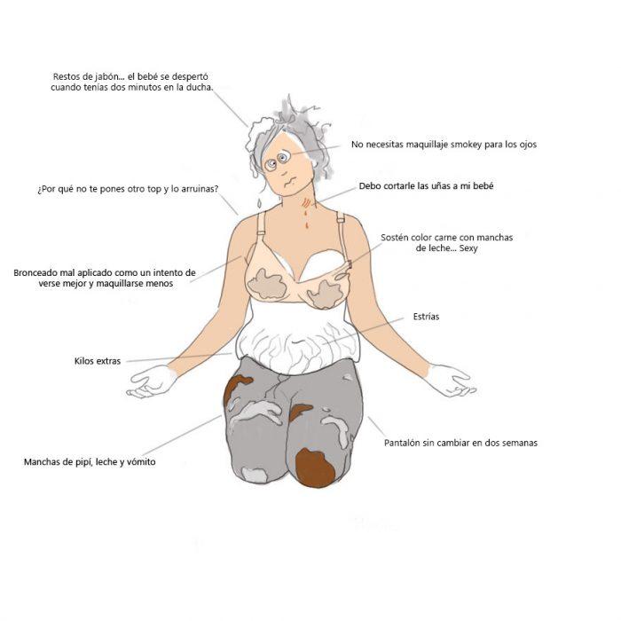 Ilustración de cómo cambias cuanto tienes un bebé