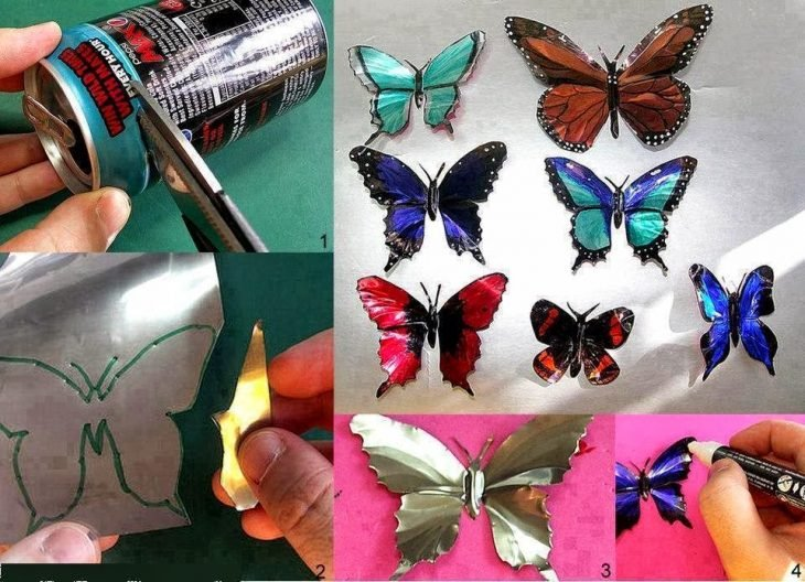 decoracion mariposas con latas de refresco y sharpie