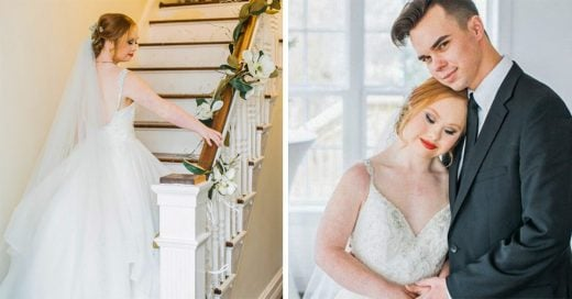 Madeline Stuart modela vestidos de novia