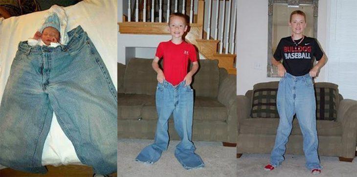 Chico usando unos pantalones para ver el crecimiento desde el día en que nació