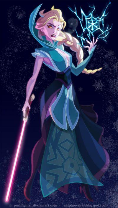 Princesa Elsa convertida en un personaje de Star Wars
