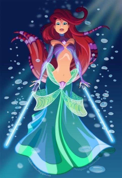 Princesa Ariel convertida en un personaje de Star Wars