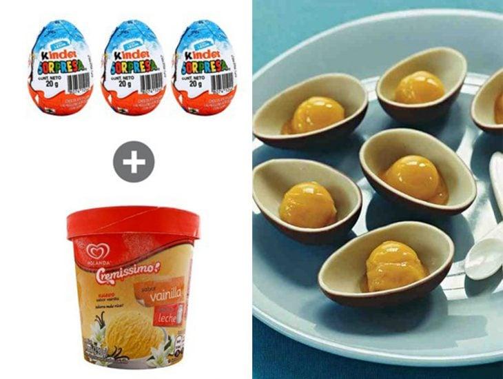 Huevos kinder rellenos de helado de vainilla