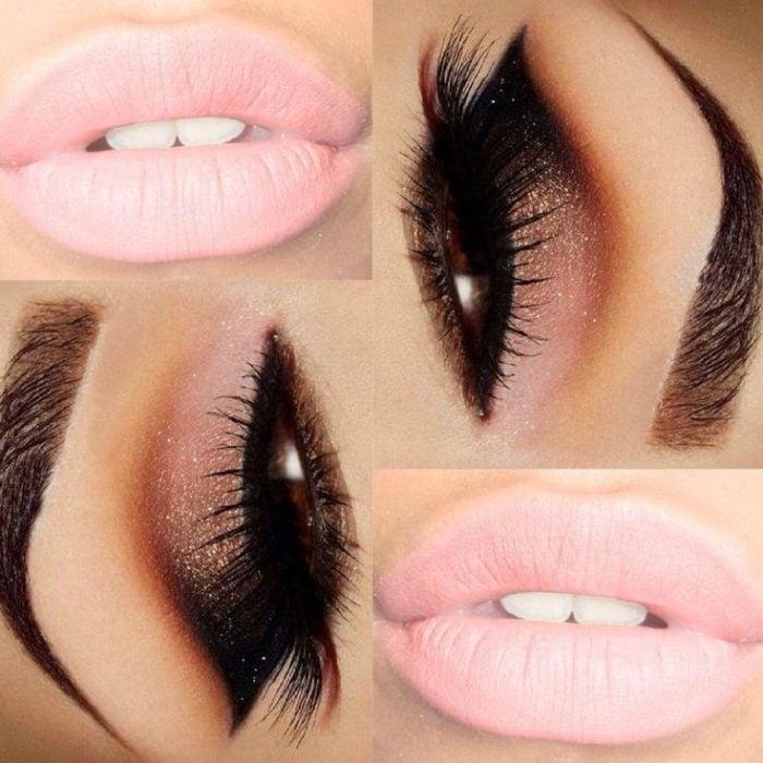 maquillaje para noche labios y ojos rosa pastel