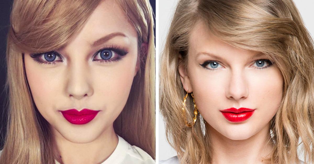 Blogger coreana mostró su extraordinario talento para transformar su cara únicamente con maquillaje en el rostro de la cantante estadounidense Taylor Swift