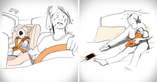 dibujos que ilustran cada reto cuando te conviertes en madre