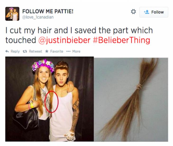 fan loca de justin bieber se corta el cabello