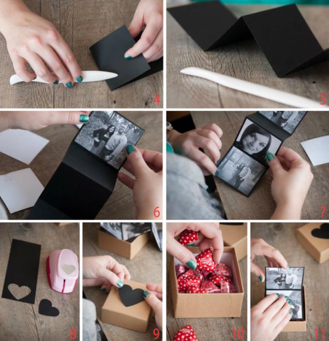 diy caja con fotografías para regalo de pareja