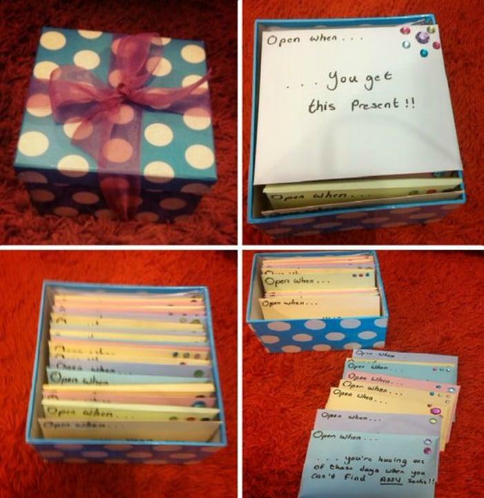 una caja con tarjetas de cario para tu amiga