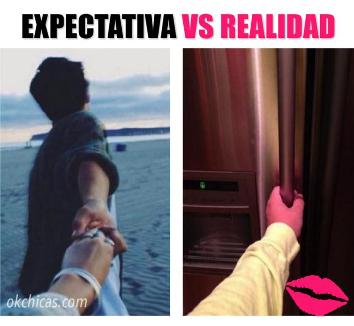 expectativa vs realidad fotos tomadas de la mano con tu novio