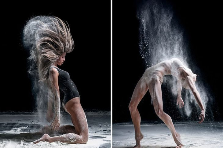 mujeres bailarinas profesionales con arena y polvo bailan