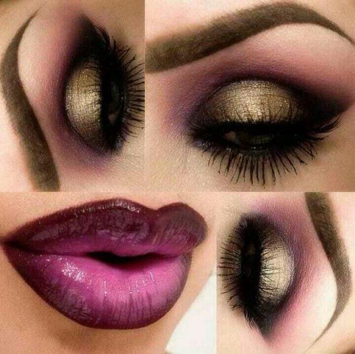 maquillaje para noche labios purpura
