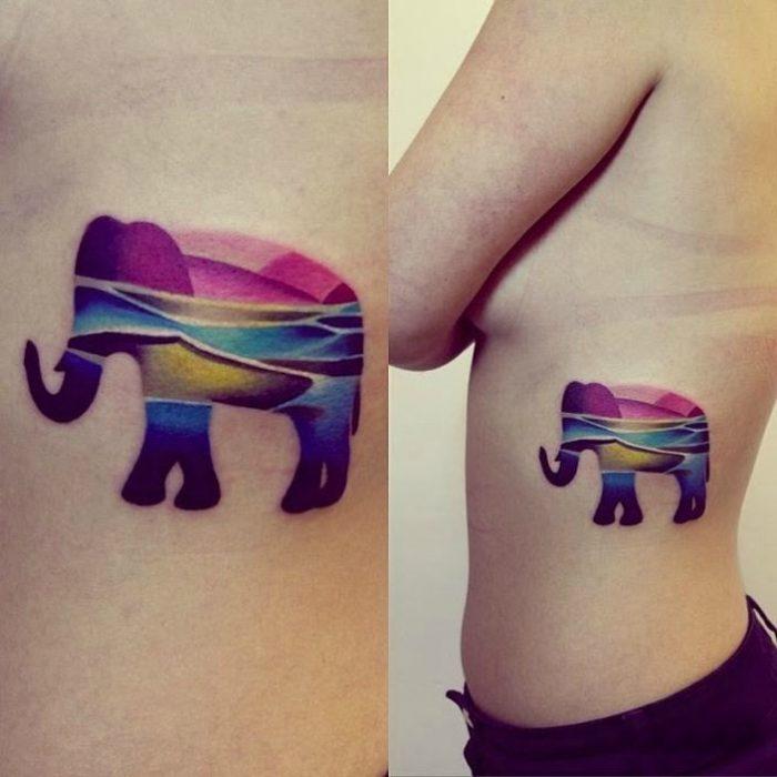 tatuaje de colores elefante