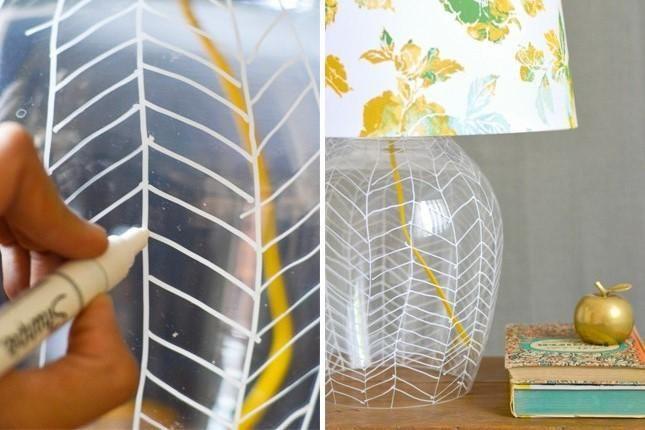 decoración para lamparas con sharpie
