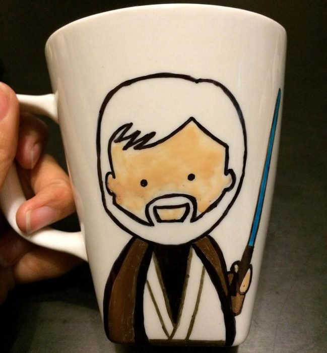 idea para pintar una taza de luke star wars