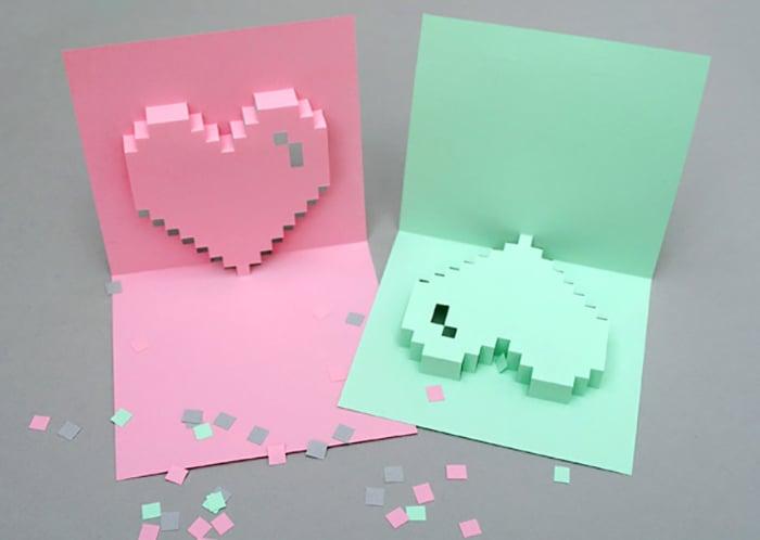 tarjetas con corazones tridimensionales diy