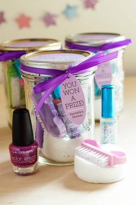 mason jar con kit para manicura