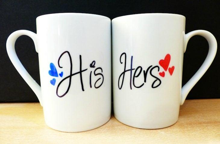 decoracion de tazas de hombre y mujer