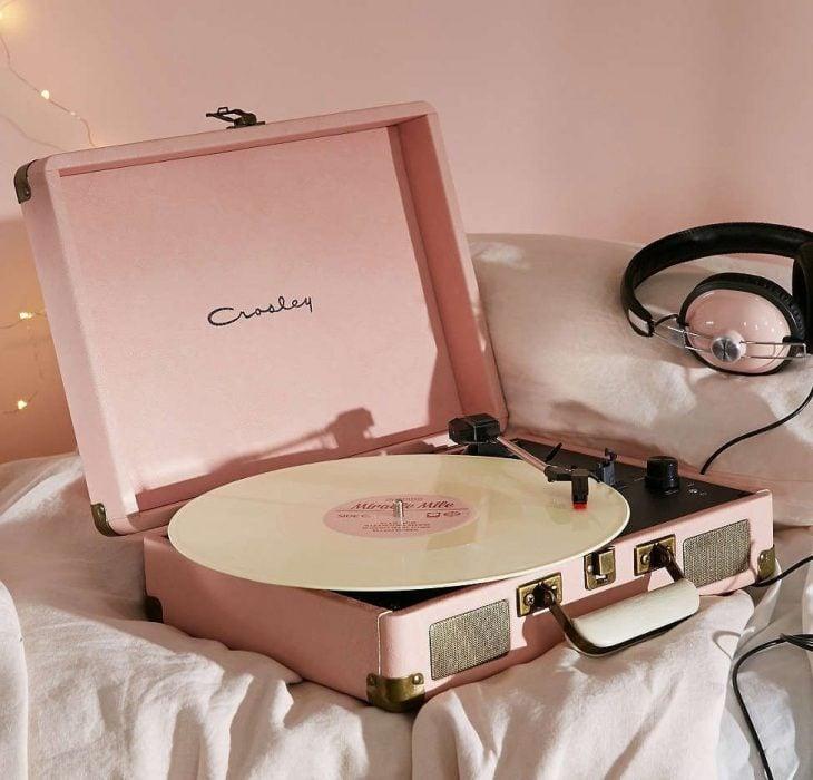 tocadiscos color rosa regalo para mejor amiga