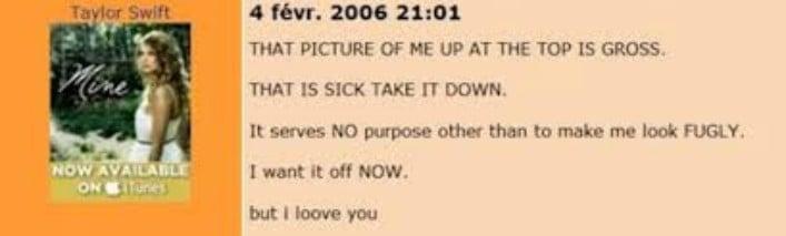 comentarios de cuenta Myspace de Taylor Swift