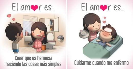 Ilustraciones que demuestran lo que es el amor en pareja