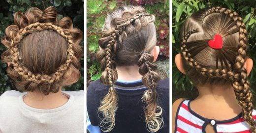 Madre trenza cabello de su hija de una manera impresionante