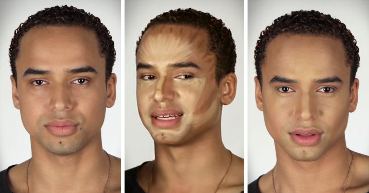 A estos hombres les contornearon el rostro con maquillaje y el resultado es increíble