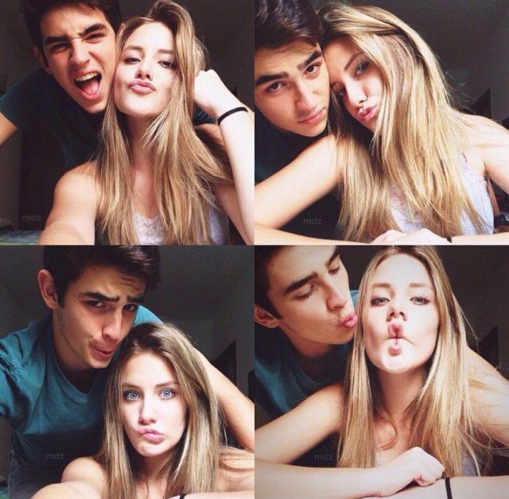 secuencia de pareja tomandose fotografías divertidas