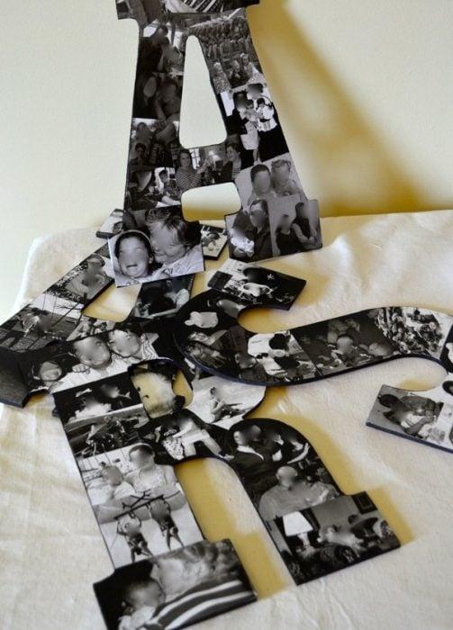 letras inicales de pareja con fotografías