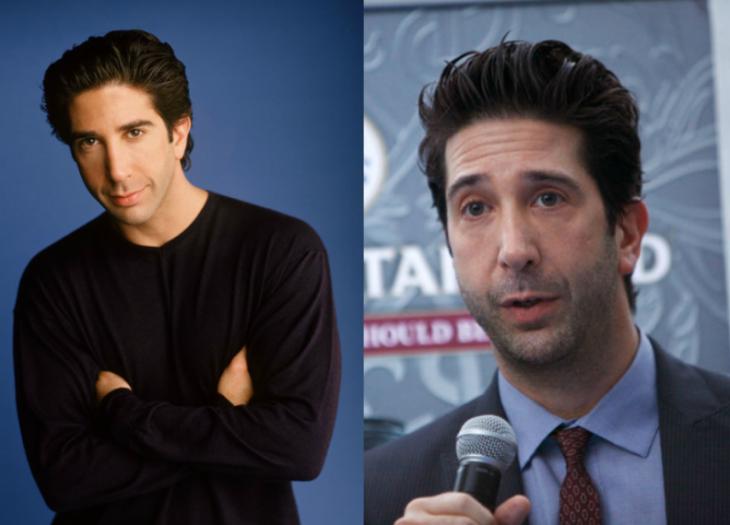 antes y despues de personaje de tv ross hombre alto cabello negro