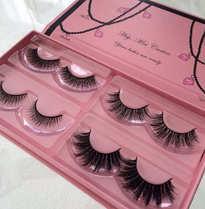 kit rosa de pestañas falsas para maquillaje