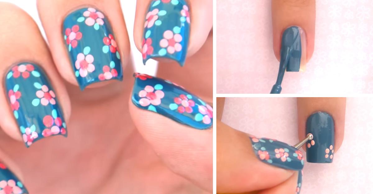 Crea un diseño floral en tus uñas con una herramienta
