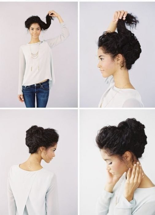 chica con cabello rizado se recoje el cabello tutorial