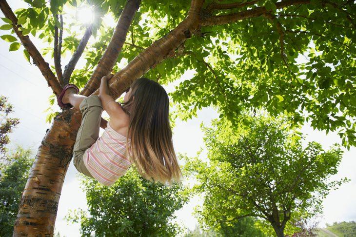 niña subiendo a un árbol