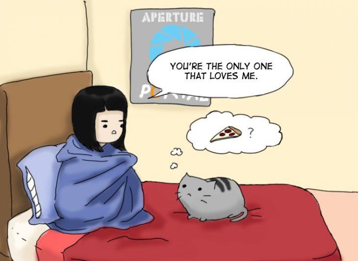 cómic de niña y un gatito