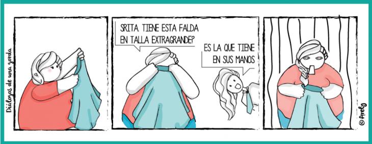 Ilustraciones de una chica gordita probándose ropa