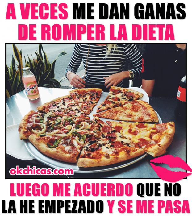 meme ok chicas pizza y dieta