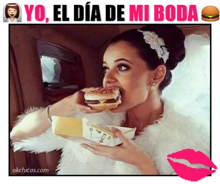 meme okchicas mujer vestida de novia comiendo hamburguesa